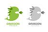 Векторный клипарт: Симпатичные дракон силуэт логотип значок