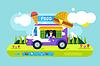 Векторный клипарт: Ресторан быстрого питания автомобиля. Фестиваль еды на открытом воздухе