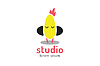 Векторный клипарт: Симпатичные куриных силуэт логотип значок. Курица музыка