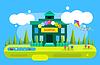 Векторный клипарт: Симпатичные карикатуры здание школы фон