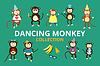 Glücklich Cartoon Affe Tanz-Party-Geburtstags