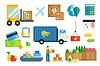 Import-Export Obst und Gemüse Liefer Symbole