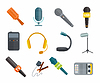 Verschiedene Mikrofone Typen Symbole