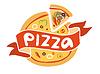 Pizza Flach Symbol-Logo-Vorlage