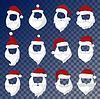 Векторный клипарт: Портрет Санта-Клауса лицо вырезать маску силуэт