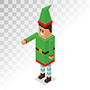 Weihnachtsmann-Helfer Junge Cartoon Elf isometrische 3D-