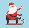 Cartoon Weihnachtsmann-Treiber Schlitten Lieferung