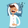 Hombre durmiendo en mal | Ilustración vectorial
