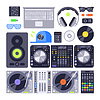 icon set verschiedene stilisierte dj Musik-Equipment