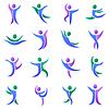 Silhouette verschiedene abstrakte Menschen und Zwillinge Symbole