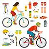 Menschen auf Fahrrädern Reiter Mann und Frau Lifestyle