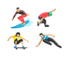 Zeichnung Springen und Klettern Männer Extremsportler