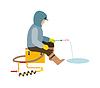 Fischer genießen Tage Winterfischen auf Eis