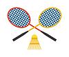 Zwei Badmintonschläger und Federball Sport-Spiel
