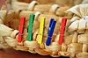 117 colored clothespins attached to the bast shoe  | Stock Foto