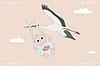 Fliegende Storch mit neugeborenen