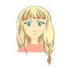 Векторный клипарт: Девочка значок лица