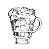 Векторный клипарт: Пивная кружка на подставке
