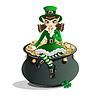 St. Patricks Day. Leprechaun Mädchen und ein Topf voll Gold
