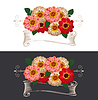 Vintage ribbon with flowers  | 向量插图