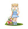 Векторный клипарт: девочка с корзиной цветов