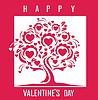 Vektor Cliparts: Happy Valentines Day-Karte mit Baum