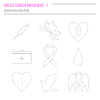 Sammlung von Brustkrebs-Bewusstseins-Icons