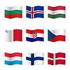 Wellenartig bewegende Flaggen der verschiedenen Länder