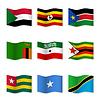 Векторный клипарт: Размахивая флагами разных стран