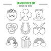 St. Patricks Day-Linie icons set