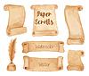 Векторный клипарт: Акварельные древние бумажные свитки