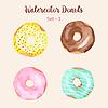 Vektor Cliparts: Hand gemalt isoliert Aquarell Donuts