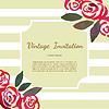 Vektor Cliparts: Invitarion Karte mit Rosen Aquarell Vintage