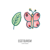 Ecotourism doodle on watercolor texture | Stock Vector Graphics