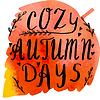 Векторный клипарт: Осень акварель баннер с ручным тиснением