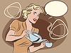 Kellnerin gießt Tee Pastell Retro-Farben
