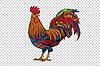 Red rooster, symbol of 2017 | 向量插图