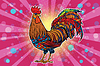 Farm bird rooster on holiday background | 向量插图