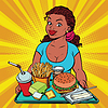 Lifestyle young woman and fast food lunch in | 向量插图