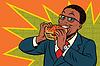 Pop art man eating Burger | 向量插图