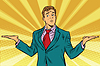 Difficult choice, businessman hand gesture weighting | 向量插图