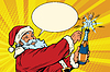Santa Claus opens bottle of champagne | 向量插图