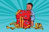 Pop art boy opens gift box | 向量插图