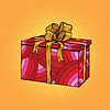 Red festive box, tied with gold ribbon | 向量插图