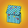Striped holiday box for gifts | 向量插图