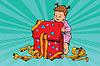 Pop art girl opens gift box | 向量插图