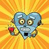 Retro Roboter Herz Valentine Liebe und Romantik