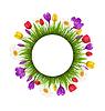 Kreis-Rahmen mit grünem Gras und Blumen