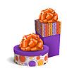 Bunte violett und orange Feier Geschenkboxen