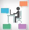 Infographic Elemente mit Flach Arbeitsplatz Icon auf